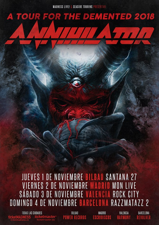 Annihilator Tour For The Demented 2018