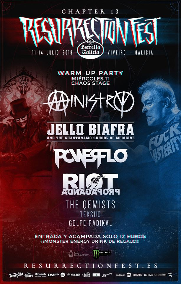 Cartel completo fiesta Warm Up Resurrection Fest 2018