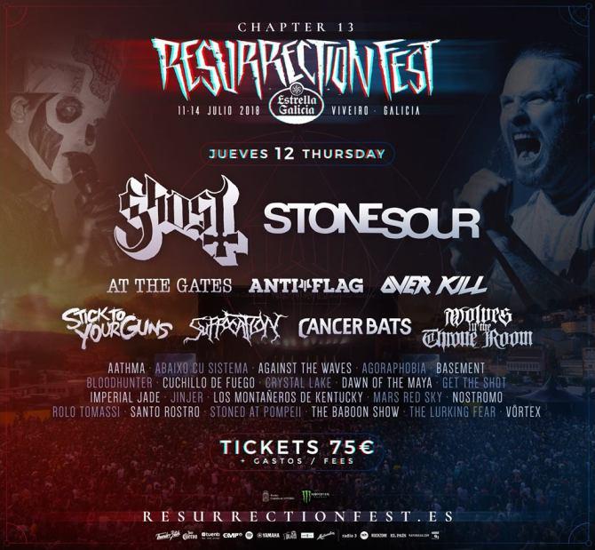 Cartel completo Jueves Resurrection Fest 2018
