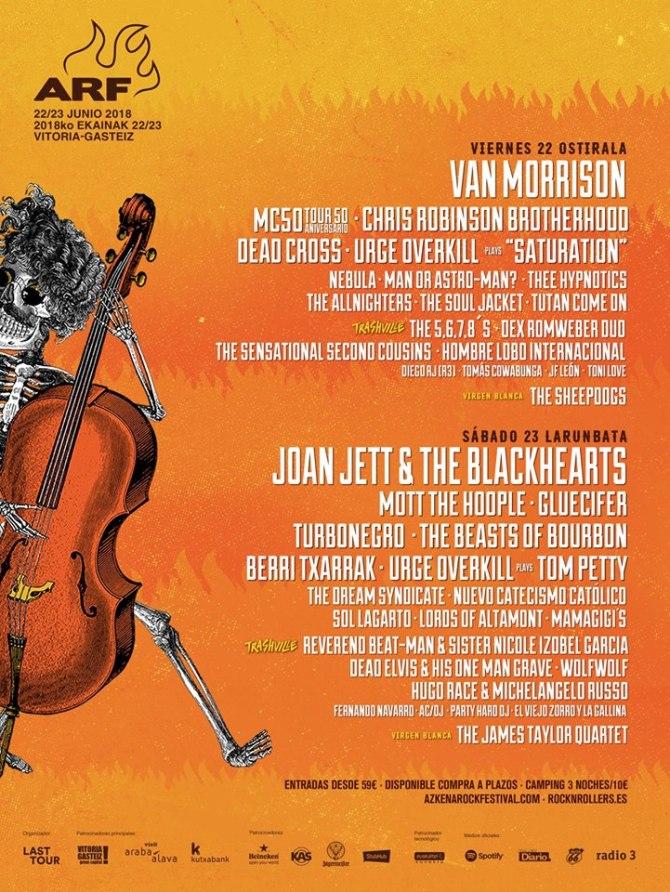 Cartel COMPLETO por días Azkena Rock Festival 2018