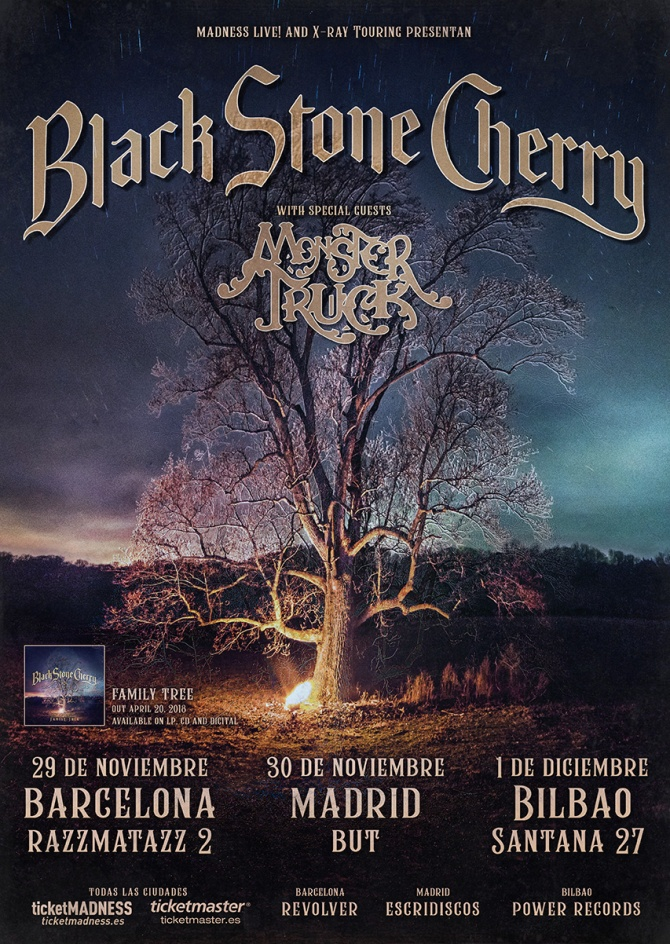 Cartel Black Stone Cherry y Monster Truck 2018