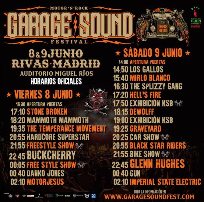 Desvelados los motorizados horarios del Garage Sound Fest