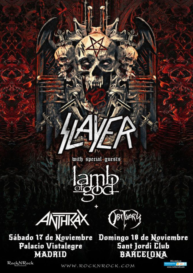 FINAL WORLD TOUR 2018 DE SLAYER JUNTO A LAMB OF GOD, ANTHRAX Y OBITUARY