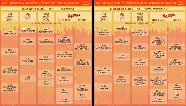 HORARIOS PARA EL AZKENA ROCK FESTIVAL 2018